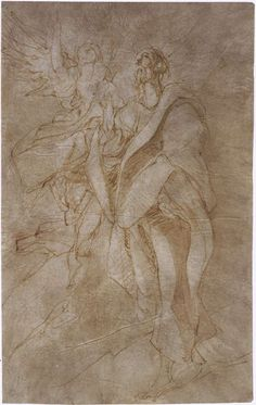 El Greco - Study for St. John the Evangelist and an Angel, 1596-99, Pen and pale-brown ink and wash on off-white paper, 337 x 210 mm, J. Paul Getty Museum, Los Angeles