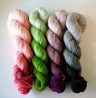 Three Irish Girls Stash Menagerie selections for May - Pink, purple, and green should soon be mine :) .thinking of a shawl (and adding to some colorwork in some socks) Crochet Yarn, Knitting Yarn, Knitting Patterns, Yarn Thread, Yarn Stash, Ombre Yarn, Yarn Inspiration, Spinning Yarn, Irish Girls
