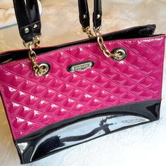 Pink Patent Anne Klein bag, Pink purse, Pink handbag Pink Handbags, Beautiful Handbags, Anne Klein, Leather Purses, Patent Leather, Shoulder Bag, Style, Fashion, Cute Handbags