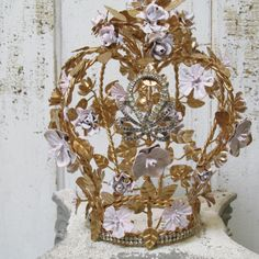 French statement crown painted pink and gold covered in a toleware rose and flower design statue decoration or home decor anita spero