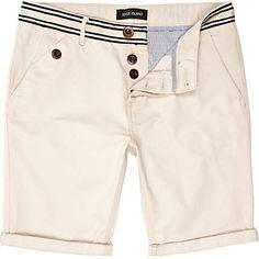 Striped waist chino shorts
