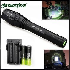 Zoomable 20000LM 5-Mode CREE XMLT6 LED Flashlight Torch Lamp Light 18650&Charger #SkyWolfEye