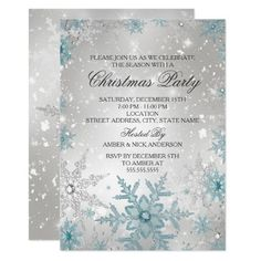 Blue & Silver Crystal Snowflake Christmas Party Invitation Invitation Fete, Christmas Party Invitation Template, Personalised Party Invitations, Christmas Party Invitations, Create Your Own Invitations, Custom Invitations, Christmas Stationery, Merry Christmas, Silver Christmas