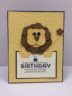 Lion Punch Art Birthday Stampin Up Card Kit (5 cards) by deanne