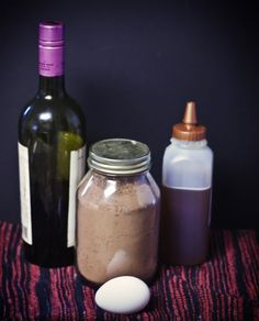 Honeyed Wine and Chocolate Facial Mask        * 2 Tbsp cocoa powder      * 1 Tbsp red wine      * 1 Tbsp honey      * 1 egg white      * Clean small paintbrush or makeup brush for application