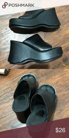 f5d95fc6c81 Chunky platform sandals Super cute black chunky sandals I got on Depop ! I  never wore