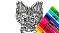 Cat colouring page , perfect for those who like coloring pages and more complex work with many colors. Its color therapy! Attached we have 5 images