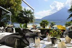 """Terrace of the """"BelAir"""" à la carte restaurant at the Beatus Luxury Accommodation, Terrace, Restaurants, Hotels, Patio, Table Decorations, Outdoor Decor, Room, Furniture"""