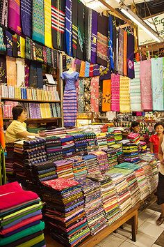 Bogyoke Aung San Market (better know as Scott Market) - in Yangon, Myanmar. Hundreds of loungys on display...the loungy is the national costume of Myanmar and worn by both men and women (it's like a sarong drape).