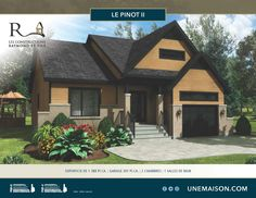 Plain-pied Le Pinot II Grand Hall, Construction, Exterior Colors, House Plans, House Design, Cabin, Colours, House Styles, Small Houses