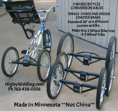 Conversion kit to repurpose any bike into an adult tricycle or special needs three 3 wheel tricycle. Also for tandems and optional dually (two wheels either side) options. Velo Tricycle, Adult Tricycle, Trike Bicycle, Bicycle Engine, Recumbent Bicycle, Trike Motorcycle, Bicycles For Sale, Cool Bicycles, Cool Bikes