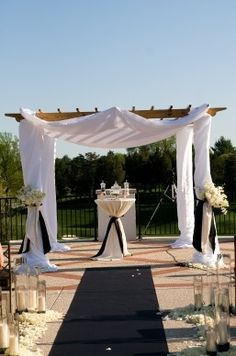 Pergola With Retractable Canopy Kit Code: 8127725525 Pergola Drapes, Metal Pergola, Pergola With Roof, Pergola Shade, Diy Pergola, Pergola Ideas, Garden Wedding, Dream Wedding, Wedding Gazebo