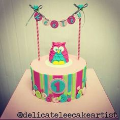 Pink, Green & Turquoise Stripes and Buttons Owl Cake with Bunting (Keeley)