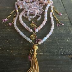 DIVINE LOVE MALAS | MORGANITE MALAS With Tassel & Diamond OM  Available in 6-8-10mm size,  limited stock.   Morganite opens the heart on a deeper level. Morganite shows us our life's path more clearly. Wearing morganite brings a sense of peace, joy, and inner strength. The energy of morganite opens and clears the heart chakra, creates abundance of the Heart and prosperity in love and life's divine plan   #iloveshakti #shaktijewelry  www.iloveshakti.com