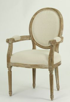 Arm Chair With Brushed Oak Wood Finish - French Country Furniture, Antique Market, Wholesale Furniture, Salvaged Wood, Dining Chairs, Dining Room, Dining Table, French Country Style, Painted Furniture