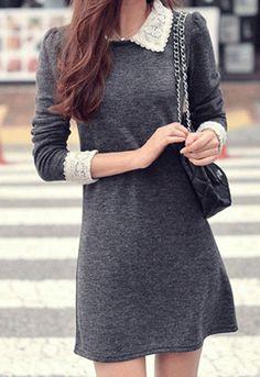 Autumn Woman Slim Lace Wool Long Sleeve Dress - Dresses | RebelsMarket