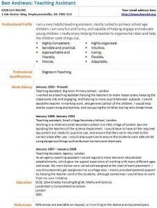 teaching assistant cv example like this - Sample Resume For A Teacher