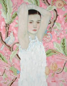 previous pinner said this is a work by Gustav Klimt. but this pink is such an unlikely color for Klimt to use. Gustav Klimt, Klimt Art, Pink Painting, Painting & Drawing, Art And Illustration, Art Amour, Art Design, Interior Design, Love Art