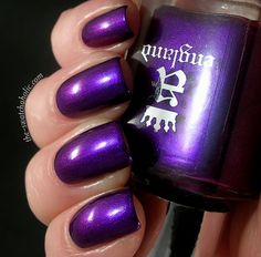 "Polishes I Own (no. 34): a-england ""Avalon"" - Vibrant purple with shimmer and a slight duochrome effect that finishes it off with a bit of blue."