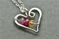 Open Heart Mother's Birthstone Necklace for Mothers Day gift