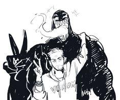 Eddie Brock x Venom Venom Comics, Marvel Venom, Marvel Dc Comics, Marvel Avengers, Spideypool, Marvel Funny, Marvel Memes, Comic Character, Character Design