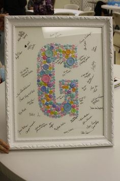 6 Framed Baby Button Initial Sign In