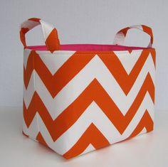 chevron storage love - Fabric Organizer Storage Container Basket Bin  by BaffinBags, $18.00