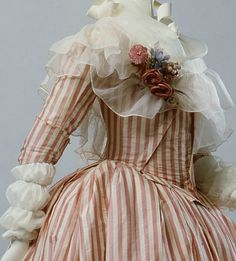 """ArtStor. detail of Robe a l'Anglaise & fichu. France, 1785-87. """"By mid-century, especially in France, the style was for the bust, veiled by lace or a sheer mull fichu, to emerge above the top line of the bodice."""""""