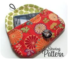 I have this pattern in 2 sizes. I have made it with rge elastic and button closure, a magnetic closure, velcro and also a snap. The tiny size is great for biz cards or lipstick. The larger is a nice cosmetic size to pop into your purse. I have other patterns of hers also. Really terrific directions - highly recommend this designer.