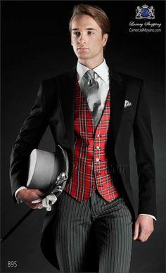 Italian bespoke wedding morning suit, black coat and diplomatic pants, style 895 Ottavio Nuccio Gala, Gentleman collection. Wedding Morning Suits, Wedding Suits, Wedding Dresses, Mens Tuxedo Suits, Men's Tuxedo, Elegant Man, Men Dress, Tartan, Mens Fashion