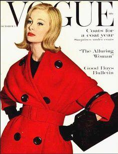 1959 Coat  Nina Ricci  . model Monique Chevalier, American Vogue cover by Irving Penn,