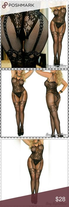 PLUS Full-Body open crotch Sexy lingere stocking Plus size-  Brand New in Packaging Sexy lingere Full-Body stockings Open crotch 1pcs Fishnet & lace Open crotch Body Stocking (G-string is not included) PERFECT Surprise-Your-Man lingere one-piece!   Size(s): Queen Size- fits 165-240 lbs 4'9-6'0 Also available in OS ,see other listing  Color(s): Black  Material(s): 90% Nylon, 10% Spandex  Prices are FIRM unless bundled! Bundle to Save!  Ships in~48hrs Sexy SuperShero Intimates & Sleepwear