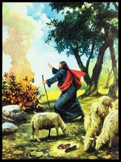 VINTAGE-1974-GOD-CALLS-MOSES-BIBLE-BOOK-PAGE-ART-BY-TORA-MAIRANI