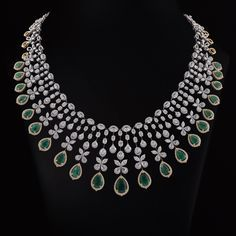 bridal jewelry for the radiant bride Gold Earrings Designs, Gold Jewellery Design, Diamond Jewellery, Necklace Designs, Diamond Necklace Set, Emerald Necklace, Diamond Pendant, Indian Jewelry Sets, Wedding Jewelry