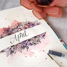 made this epic April cover page Here's another example of messy watercolor over a detailed drawing. I like how she makes some of the flowers pop in purple. page Beautiful Bullet Journal Cover Page Ideas for Every Month of the Year April Bullet Journal, Bullet Journal Cover Page, Bullet Journal Mood, Bullet Journal Spread, Bullet Journal Layout, Art Journal Pages, Journal Ideas, Bullet Journals, Art Journal Covers