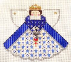 Royal Blue Queen Angel & Charms handpainted Needlepoint Canvas Painted Pony