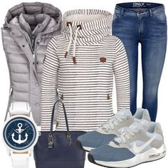 AnchorGirl Ladies Outfit - Complete Leisure Suitfit acquista a buon mercato Outfits Damen, Komplette Outfits, Casual Fall Outfits, Jean Outfits, Winter Outfits, Fashion Outfits, Womens Fashion, Jeans Und Sneakers, Estilo Jeans