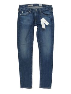 AG/Adriano Goldschmied 'The Stilt Cigarette Leg' distressed dark blue wash jeans featuring a sleek modern cut paired with major chic factor. Gently worn, with a ton of life left to go. Ag Jeans, Skinny Jeans, Four 4, Thrasher, Adriano Goldschmied, The Dreamers, Lego, Boutique, Denim