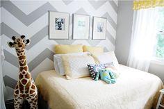 chevron accent wall + gray & yellow color scheme for boys nursery