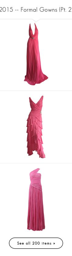 """""""2015 -- Formal Gowns (Pt. 2)"""" by kyla-perez-santiago ❤ liked on Polyvore featuring dresses, gowns, red, sexy red gown, sexy evening dresses, pink ball gown, red evening gowns, sexy red dresses, long dresses and pink"""