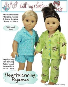 Doll Tag Clothing Heartwarming Pajamas Doll Clothes Pattern 18 inch American Girl Dolls | Pixie Faire