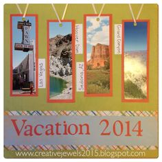 I made this title page for our vacation album, which is in a Creative Memories Sunshine Getaway Fast 2 Fab album. It came with pre designed pages, which I used for Sedona and Grand Canyon pictures. I used a few large pocket pages for some traditional scrapbook pages, and MANY multi pocket pages for the rest of the photos of Las Vegas and the Hoover Dam. It was quick and easy, and now it's DONE!