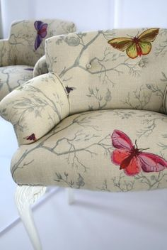 Timorous Beasties Fabric - Butterflies interesting way to patch old furniture too
