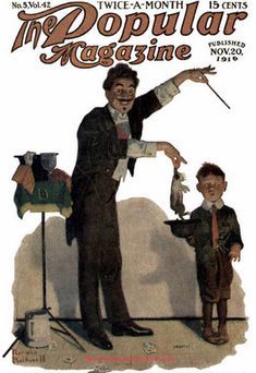 Norman Rockwell magazine cover featuring a magician and his startled stage helper. More history at MagicTricks.com