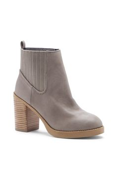 Grey leather booties with elastic goring along the sides ==