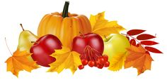 Autumn Pumpkin and Fruits PNG Clipart Image