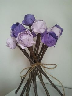Purple origami flower bouquet