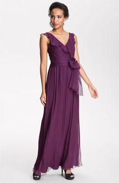 G591C - Amsale Ruffle Silk Chiffon Gown available at Nordstrom.  This dress can be Special Ordered in additional colors and a shorter length (G581C).  Please contact the Wedding Suite at Village of Merrick Park for details.