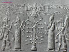 Cylinder seal with the solar disk of Ashur, anointing with two eagle-headed gods before the Tree of Life. The blossoms on the tree appear to be pomegranates.