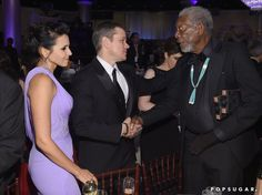 Pin for Later: 26 of the Cutest Candids From Inside the Golden Globes Matt and Luciana Damon chatted with Morgan Freeman.
